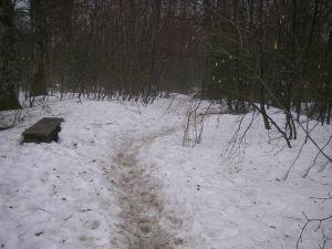 Nieve en el Camino. Se debía vigilar para no resbalar